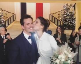 Mariage de l'ancienne Miss France Laury Thilleman et Juan Arbelaez, en Bretagne, le 21 décembre 2019.