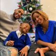 Tony Yoka, Estelle Mossely, enceinte, et leur premier enfant Ali fêtent Noël. Décembre 2019.