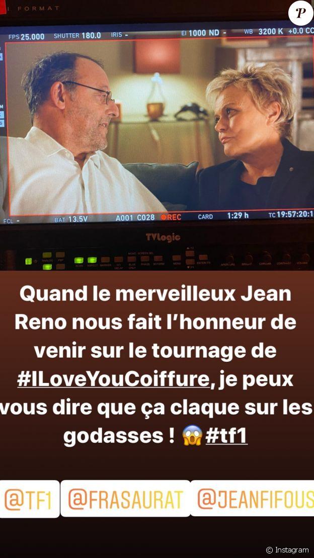 Muriel Robin et Jean Reno sur le tournage d'I love you coiffure (TF1), le 8 janvier 2020.
