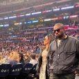 Kanye West et sa femme Kim Kardashian assistent au match de NBA de basketball opposant les Lakers de Los Angeles aux Cavaliers de Cleveland au Staples Center à Los Angeles, Californie, Etats-Unis, le 13 janvier 2020.