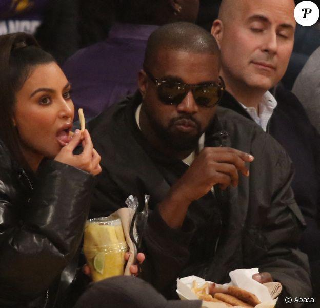 Kim Kardashian et son mari Kanye West le lundi 13 janvier 2020- Cleveland Cavaliers contre les Lakers.