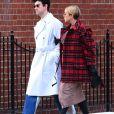 Exclusif - Chloë Sevigny, enceinte, dévoile son baby bump lors d'une sortie avec son compagnon Sinisa Mackovic à New York le 6 janvier 2020.