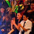 """Cristina Cordula, Boy George, Jean-Paul Gaultier, Farida Khelfa et Suzanne Von Aichinger lors du dernier défilé de mode Haute-Couture printemps-été 2020 """"Jean-Paul Gaultier"""" au théâtre du Châtelet à Paris, France, le 22 janvier 2020. © Veeren-Clovis/Bestimage"""