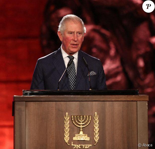 Le prince Charles lors de la cérémonie marquant à Jérusalem le 75e anniversaire de la libération du camp nazi d'Auschwitz, le 23 janvier 2020, au Mémorial de Yad Vashem.