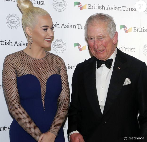 Le prince Charles, prince de Galle et Katy Perry lors de la réception de soutien au British Asian Trust à Banqueting House, Whitehall, Londres le 4 février 2020.