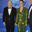 "Le prince Albert II de Monaco, Sharon Stone - Soirée de gala ""Global Ocean"" à Hollywood le 6 février 2020."