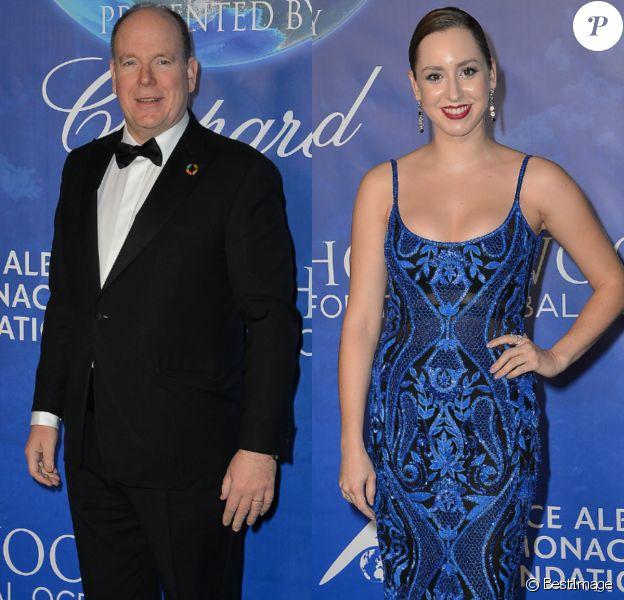 """Le prince Albert de Monaco et sa fille Jazmin Grace Grimaldi - Soirée de gala """"Global Ocean"""" à Hollywood le 6 février 2020."""