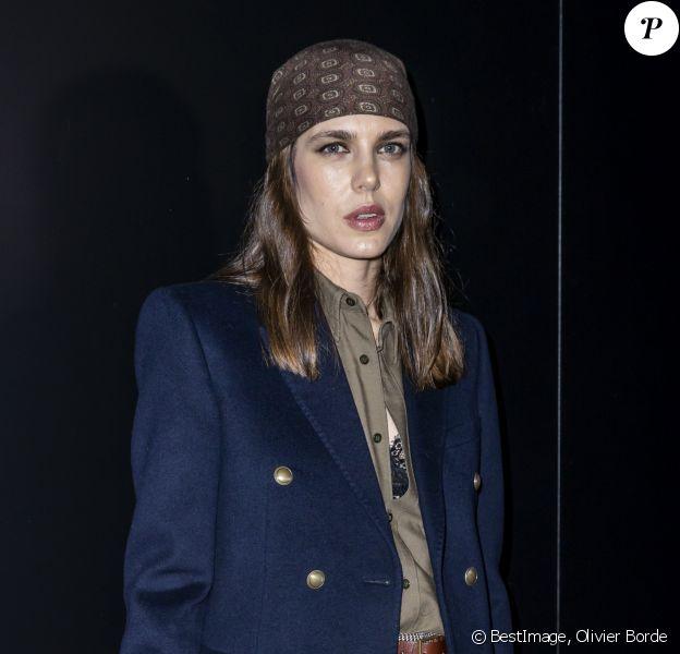 Charlotte Casiraghi assiste au défilé de mode Saint Laurent, collection prêt-à-porter automne-hiver 2020/2021, à la Tour Eiffel. Paris, le 25 février 2020. © Olivier Borde / Bestimage