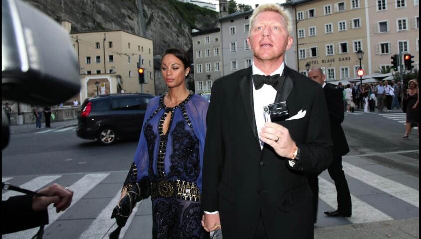 Boris Becker et son épouse Lilly Kerssenberg à Salzbourg, avant la représentation de Fidelio à laquelle ils ont été invités par le couple Beckenbauer, le 12 août 2009