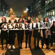 Manifestation contre la nomination de Roman Polanski avant la 45ème cérémonie des César à Paris, le 28 février 2020. © Gwendoline Le Goff / Panoramic / Bestimage