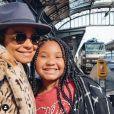 Christina Milian avec sa fille Violet à la gare de Starsbourg le 4 octobre 2019.