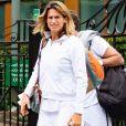 Exclusif - Amélie Mauresmo et Lucas Pouille à la sortie de leur entrainement lors du tournoi de tennis de Wimbledon à Londres. Le 26 juin 2019.