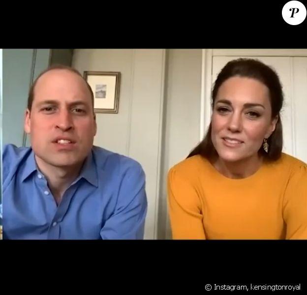 Kate Middleton et William en visioconférence sur Instagram, le 8 avril 2020.