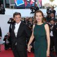 """Carole Bouquet et son compagnon Philippe Sereys de Rothschild - Montée des marches du film """"The Little Prince"""" (Le Petit Prince) lors du 68 ème Festival International du Film de Cannes, à Cannes le 22 mai 2015."""
