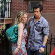 Hilary Duff et Penn Badgley sur le tournage de Gossip Girl