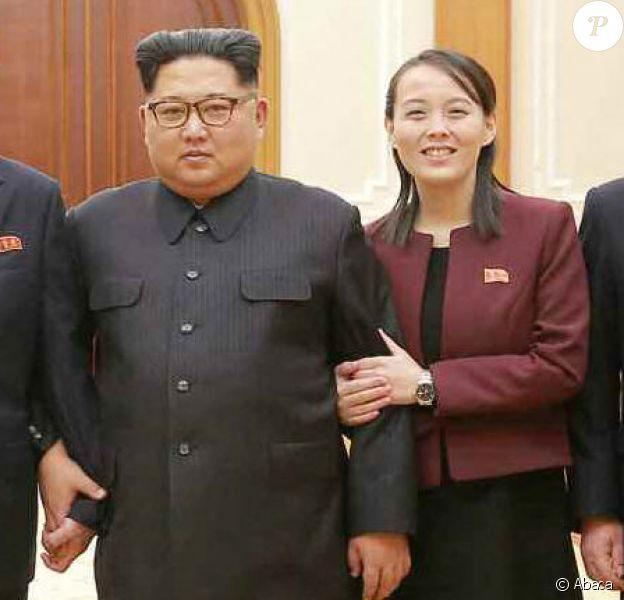 Kim Jong-un, sa soeur Kim Yo-jong et trois autres leaders de Corée du Nord le 13 février 2018.