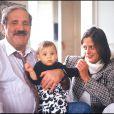 Jean Yanne et Christianne Fugger von Babenhausen avec leur fils Jean-Christophe, en 1992