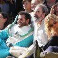 Zach Braff, Kate Hudson, Josh Gad, et Joey King sur le tournage de la derniere scene du film 'Wish You Were Here' à Pasadena le 6 septembre 2013.
