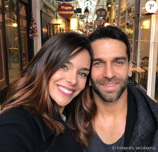 Marine Lorphelin avec son fiancé Christophe, le 23 décembre 2018
