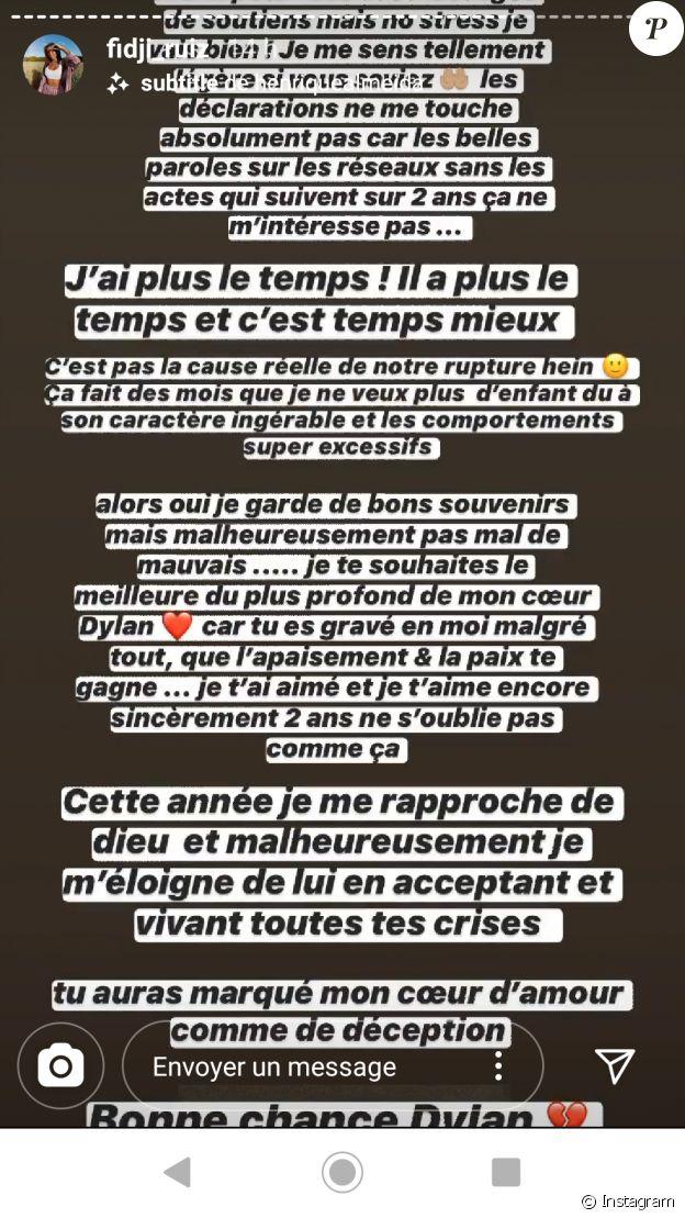 Fidji s'exprime sur sa rupture avec Dylan, le 1er juin 2020, sur Instagram
