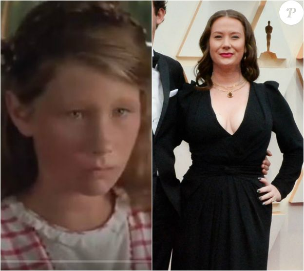 Elizabeth Hanks, la fille de Tom Hanks, faisait une apparition (à gauche) dans Forrest Gump (1994). Ici (à droite) en février 2020 aux Oscars.