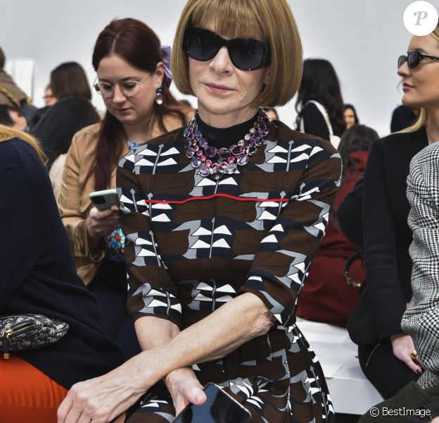 """Anna Wintour - People au défilé de mode """"Max Mara"""" collection Automne-Hiver 2020-2021 lors de la fashion week à Milan, le 20 février 2020."""