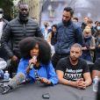 """Le réalisateur des Misérables Ladj Ly, Assa Traoré à la conférence de presse """" Justice pour Adama """" à Paris, le 9 juin 2020. Le jeune homme est décédé lors de son interpellation par les gendarmes en juillet 2016 à Beaumont-sur-Oise (Val-d'Oise)."""