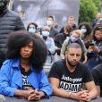 """Assa Traoré à la conférence de presse """" Justice pour Adama """" à Paris, le 9 juin 2020. Le jeune homme est décédé lors de son interpellation par les gendarmes en juillet 2016 à Beaumont-sur-Oise (Val-d'Oise)."""