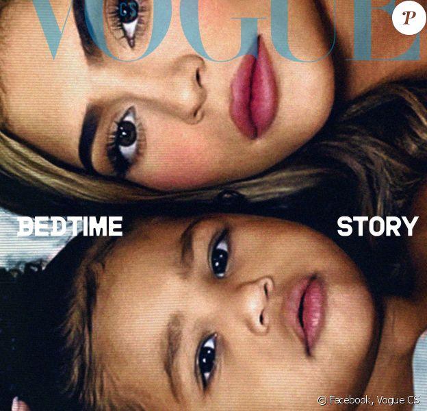 Kylie Jenner et sa fille Stormi en couverture du nouveau numéro de l'édition tchéquoslovaque du magazine Vogue. Photo par les frères Alessandro et Luca Morelli.