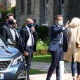 Arrivée à la Mairie du Touquet - Le Président de la République Emmanuel Macron et sa femme la Première Dame Brigitte Macron sont allés voter à la Mairie du Touquet-Paris-Plage lors du second tour des élections municipales, le 28 juin 2020. Ils portent des masques de protection contre le Coronavirus (Covid-19). A leur sortie, ils sont allés rencontrer la foule puis sont repartis en voiture.