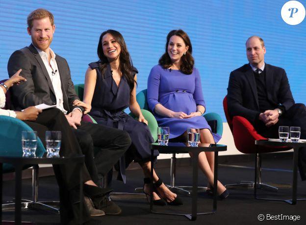 Le prince Harry, Meghan Markle, Catherine Kate Middleton (enceinte), duchesse de Cambridge, le prince William, duc de Cambridge lors du premier forum annuel de la Fondation Royale à Londres le 28 février 2018.