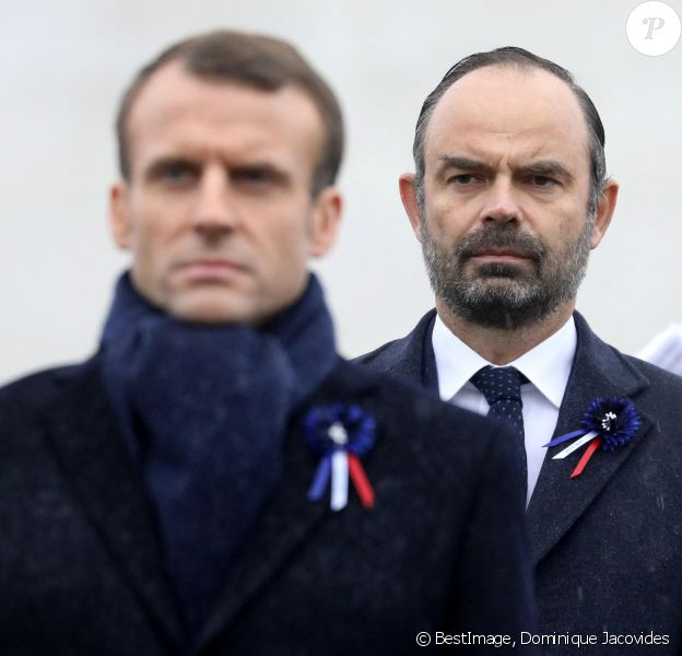 Le président de la République française Emmanuel Macron et le Premier Ministre français Édouard Philippe - Cérémonie internationale du centenaire de l'Armistice du 11 novembre 1918 à l'Arc de Triomphe à Paris, France, le 11 novembre 2018. © Dominique Jacovides/Bestimage