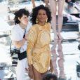 """Cindy Bruna participe au défilé de mode """"Balmain Sur Seine"""" de Balmain, sur la péniche """"Sans Souci"""". Paris, le 5 juillet 2020."""