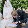 Mariage de la princesse Raiyah de Jordanie avec le Britannique Faris Ned Donovan, petit-fils de l'écrain Roald Dahl, en Angleterre, le 7 juillet 2020.