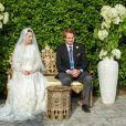 Mariage de la princesse Raiyah de Jordanie avec le Britannique Faris Ned Donovan, petit-fils de l'écrain Roald Dahl, en Angleterre, le 7 juillet 2020. La reine Noor de Jordanie, la mère de la mariée, a assisté à la cérémonie intime.