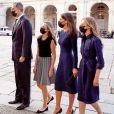 Pedro Sanchez, le roi Felipe VI, la reine Letizia et leurs filles la princesse Leonor et la princesse Sofia d'Espagne - La famille royale d'Espagne lors de la commémoration en hommage aux victimes du Coronavirus (COVID-19) à Madrid. Le 16 juillet 2020