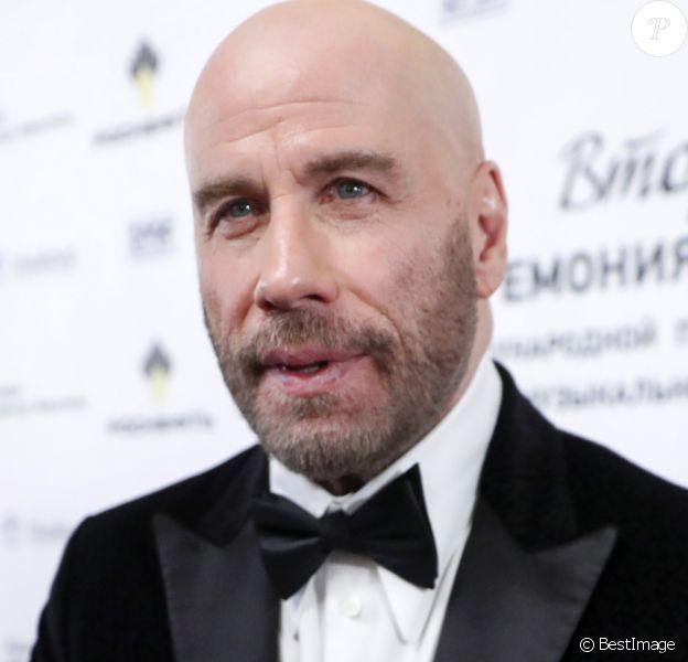 """John Travolta - Photocall de la cérémonie """"BraVo international classical music awards"""" au théâtre du Bolchoï à Moscou, le 19 mars 2019."""