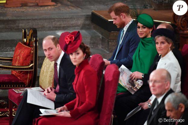 Le prince Edward, comte de Wessex, Sophie Rhys-Jones, comtesse de Wessex, Le prince William, duc de Cambridge, et Catherine (Kate) Middleton, duchesse de Cambridge, Le prince Harry, duc de Sussex, Meghan Markle, duchesse de Sussex - La famille royale d'Angleterre lors de la cérémonie du Commonwealth en l'abbaye de Westminster à Londres le 9 mars 2020.