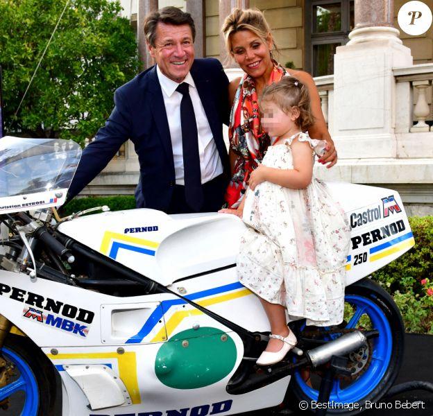 Christian Estrosi, le maire de Nice, et sa femme Laura Tenoudji Estrosi durant la remise de la moto Pernod 250 GP compétitions 1981-1984 à Christian Estrosi au Musée du Sport. C'est sur cette moto que le maire a concouru entre 1981 et 1984. © Bruno Bebert / Bestimage