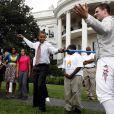 Barack Obama dans les jardins de la Maison Blanche