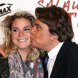 """Bernard Tapie et sa fille Sophie - Avant-première de """"Salaud on t'aime"""" à l'UGC Normandie sur les Champs-Elysées à Paris le 31 mars 2014."""