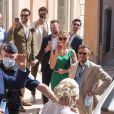 Bernard Tapie et sa femme Dominique - Mariage civil de Sophie Tapie et Jean-Mathieu Marinetti à la mairie de Saint-Tropez en présence de leurs parents et de la famille le 20 août 2020.