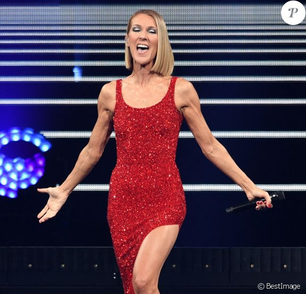 """Céline Dion en concert à l'American Airlines Arena dans le cadre de sa tournée """"Courage World Tour"""" à Miami"""