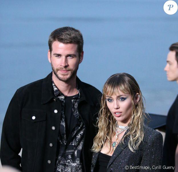 Liam Hemsworth et sa femme Miley Cyrus - Arrivées - Saint Laurent présente sa collection homme printemps-été 2020 à Malibu, été 2019. ©Cyrill Gueny / Bestimage