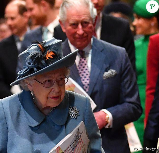 La reine Elisabeth II d'Angleterre et le prince Charles - La famille royale d'Angleterre lors de la cérémonie du Commonwealth en l'abbaye de Westminster à Londres.