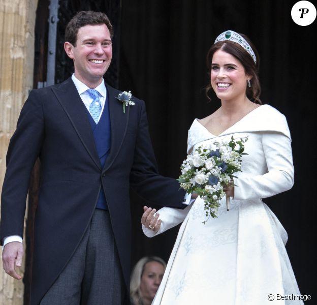 La princesse Eugenie et son mari Jack Brooksbank - Sorties après la cérémonie de mariage de la princesse Eugenie d'York et Jack Brooksbank en la chapelle Saint-George au château de Windsor.