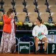 Marion Bartoli, enceinte, et Caroline Garcia - Les championnes de tennis s'affrontent sur la terre battue du tournoi de tennis de Roland Garros à Paris, le 30 septembre 2020. A cette occasion, la joueuse française de 34 ans, Pauline Parmentier a disputé le dernier tournoi de sa carrière.