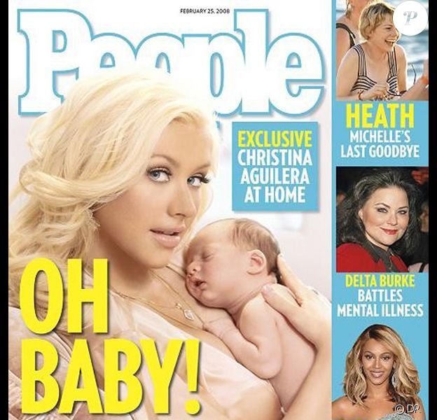 Christina Aguilera en couverture de Oeople magazine avec son fils Max