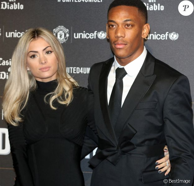 "Anthony Martial et sa compagne Mélanie Da Cruz lors du dîner de gala ""United For Unicef"" à Mancheste"