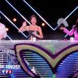 """Anggun, Jarry, Kev Adams et Jarry et Alessandra Sublet membres du jury de l'émission """"Mask Singer""""."""